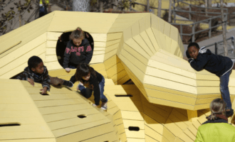 Schoolchildren test-drive playground at the Gathering Place